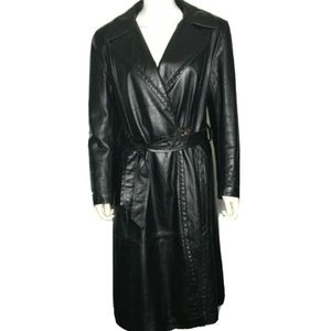 Women's sz M Leather 80's Long Trench Coat Belted